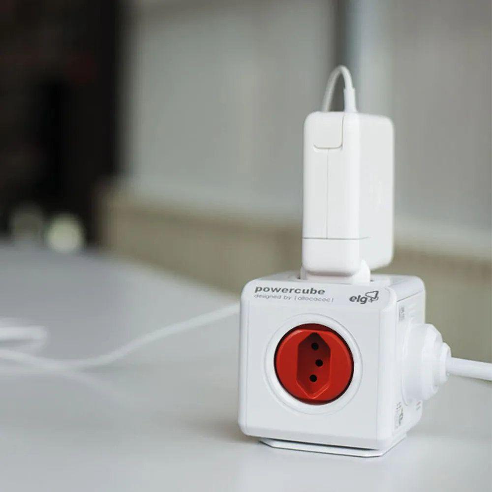 Multiplicador PowerCube  - 4 tomadas e 2 USB - Extensão 3 metros  - PWC-X5/3M
