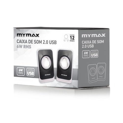 CAIXA DE SOM USB 6W RMS - Preto/Branco - Mymax