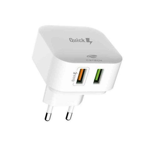 Carregador AC-USB Universal, Bivolt  com Quick Charge QC3.0, 2.4A, branco, C3Tech