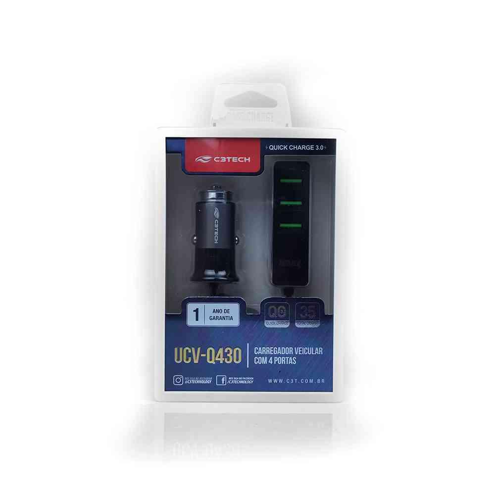Carregador Veicular com 4 USB Quick Charge 3.0 UCV-Q430BK C3Tech