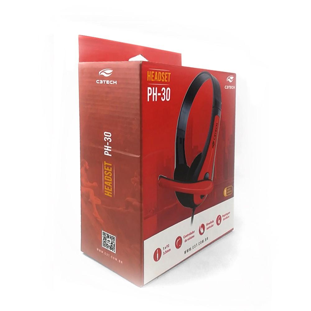 Fone Com Microfone PH-30BK Preto C3Tech GRATIS ADAPTADOR P3