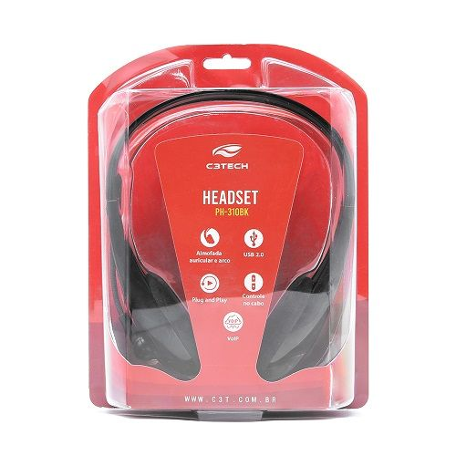 Fone USB Com Microfone PH-310BK Preto C3Tech