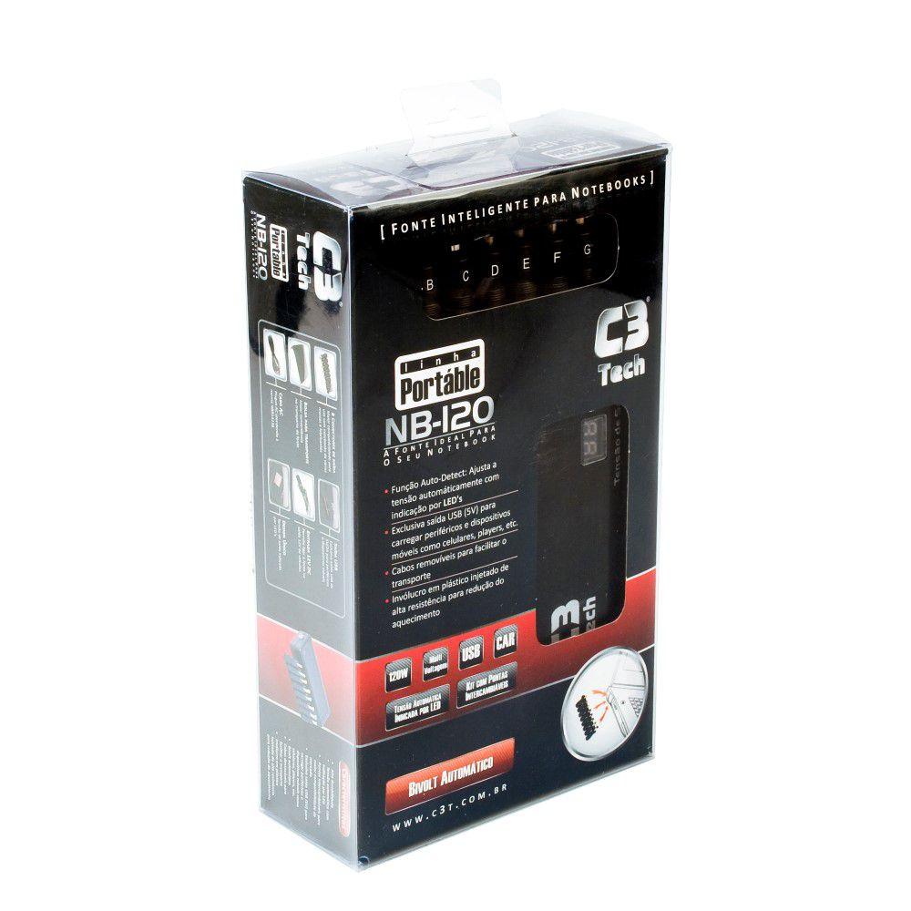 Fonte Universal para Notebook NB-120 120W com USB+Veicular C3Tech