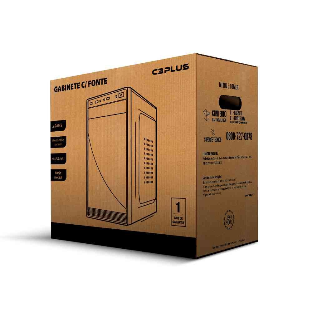 Gabinete 2 baias Micro-ATX MT-10BK com fonte 200W - C3Tech