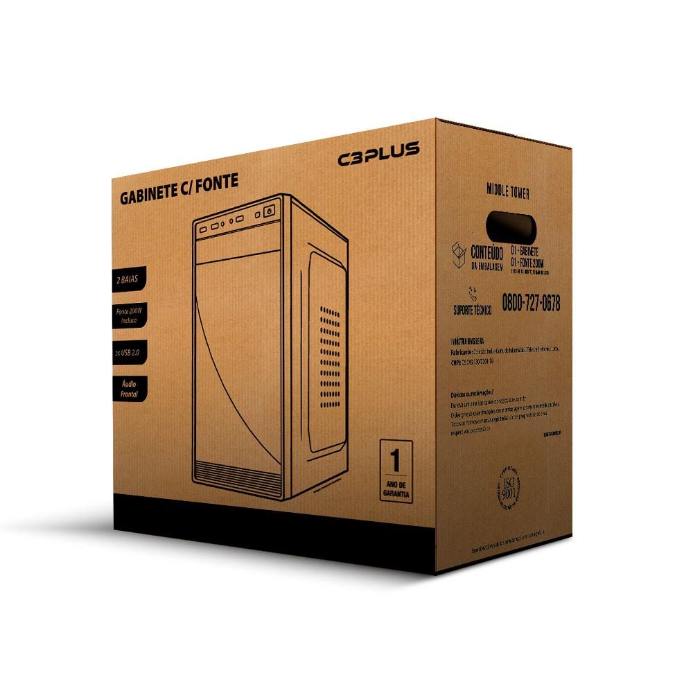 Gabinete Micro-ATX MT-25V2BK com fonte 200W C3Tech