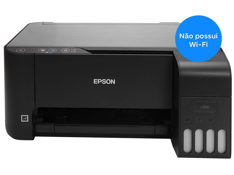 Impressora Multifuncional Epson EcoTank L3110 - Tanque de Tinta Colorida USB