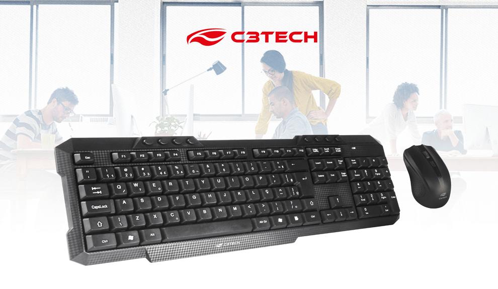 Kit teclado c3tech  Elimine os fios da sua mesa e trabalhe com mais conforto com o K-W10.