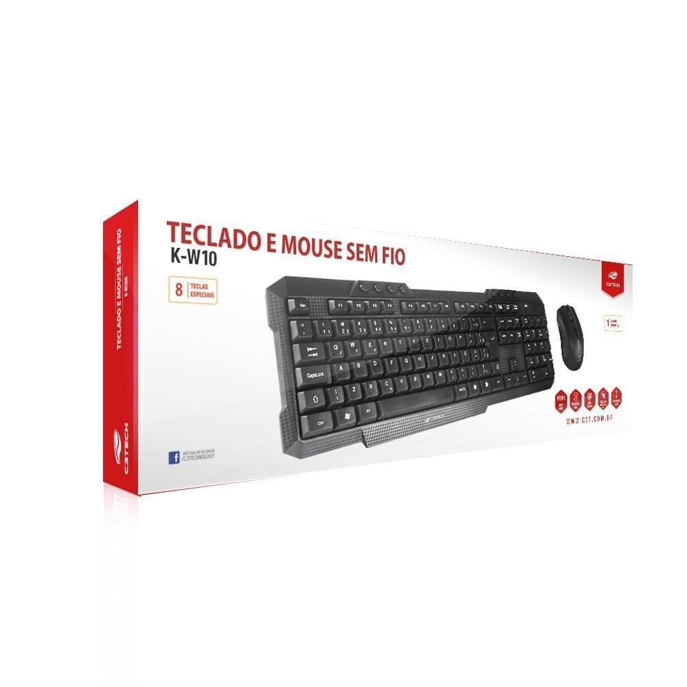 Kit Teclado + Mouse sem fio K-W10BK C3Tech