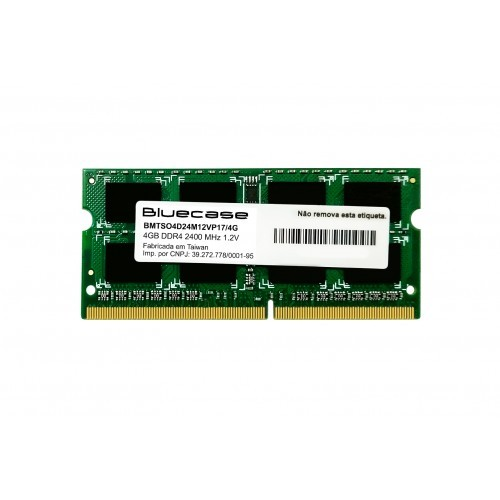 Memória Bluecase DDR4 4GB 2400Mhz SODIMM (Notebook) - BMTSO4D24M12VP17/4G