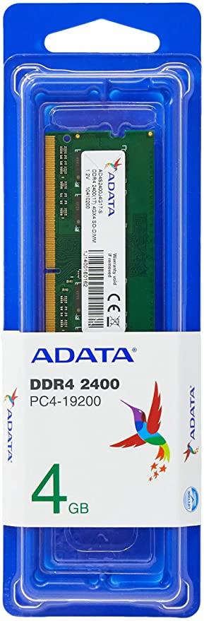 Memoria para Notebook 4GB DDR4 2400MHZ SO-DIMM - AD4S2400J4G17-S, Adata