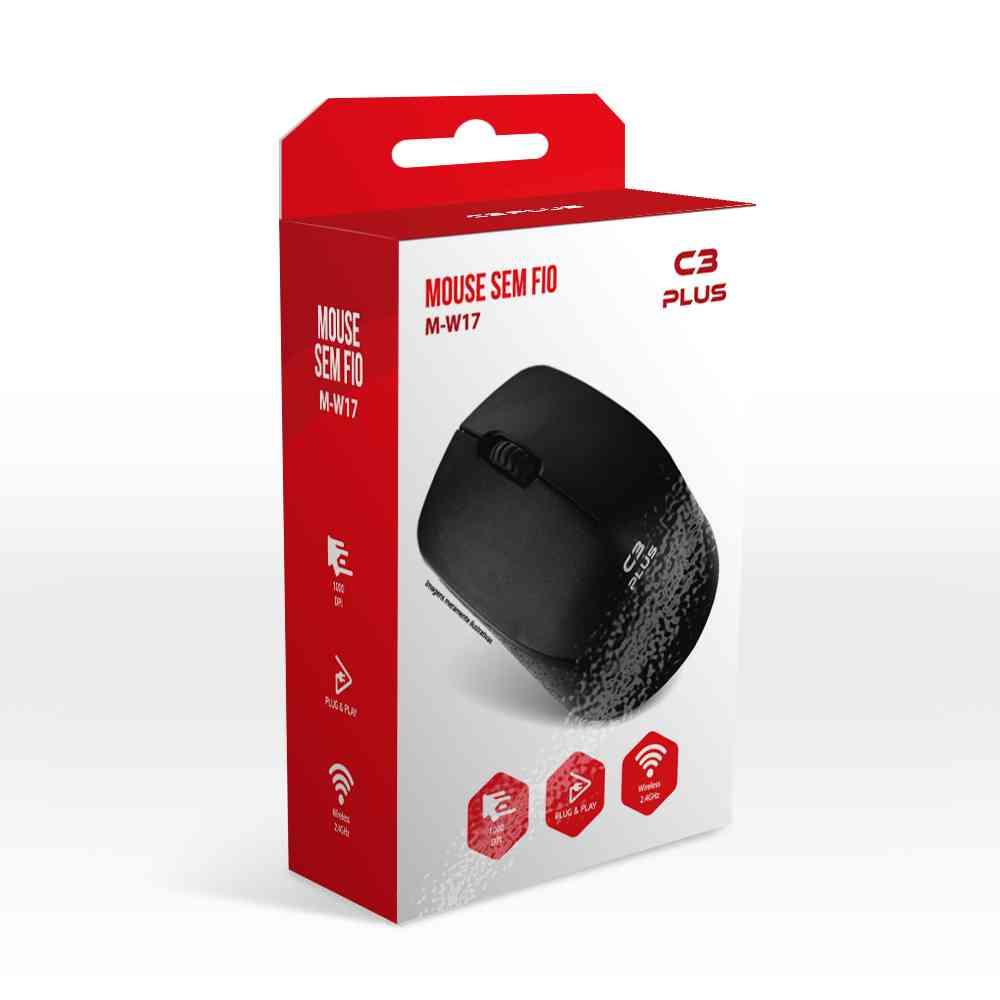 Mouse C3Plus USB Sem Fio M-W17BK Preto
