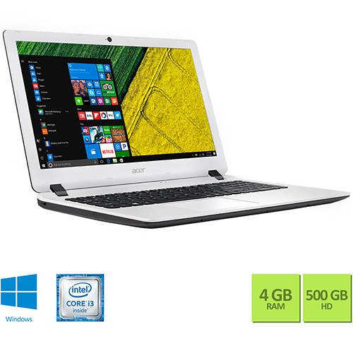 "Notebook Acer ES1-572-347R Intel Core i3 4GB 500GB Tela HD 15,6"" Windows 10 - Branco"