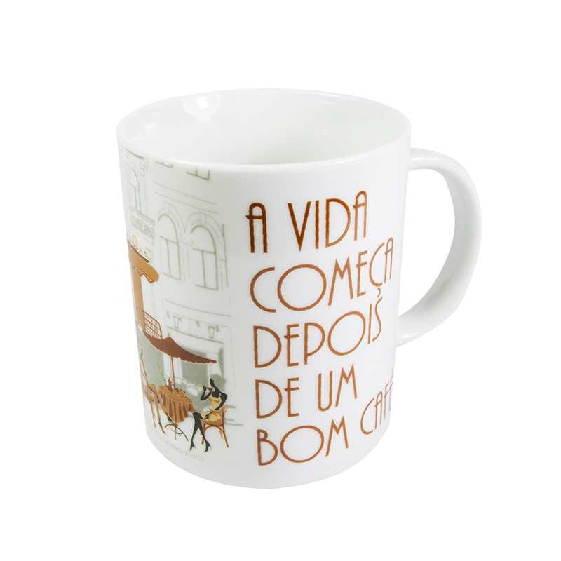 """Caneca """"A vida começa depois de um bom café"""" 330ml"""