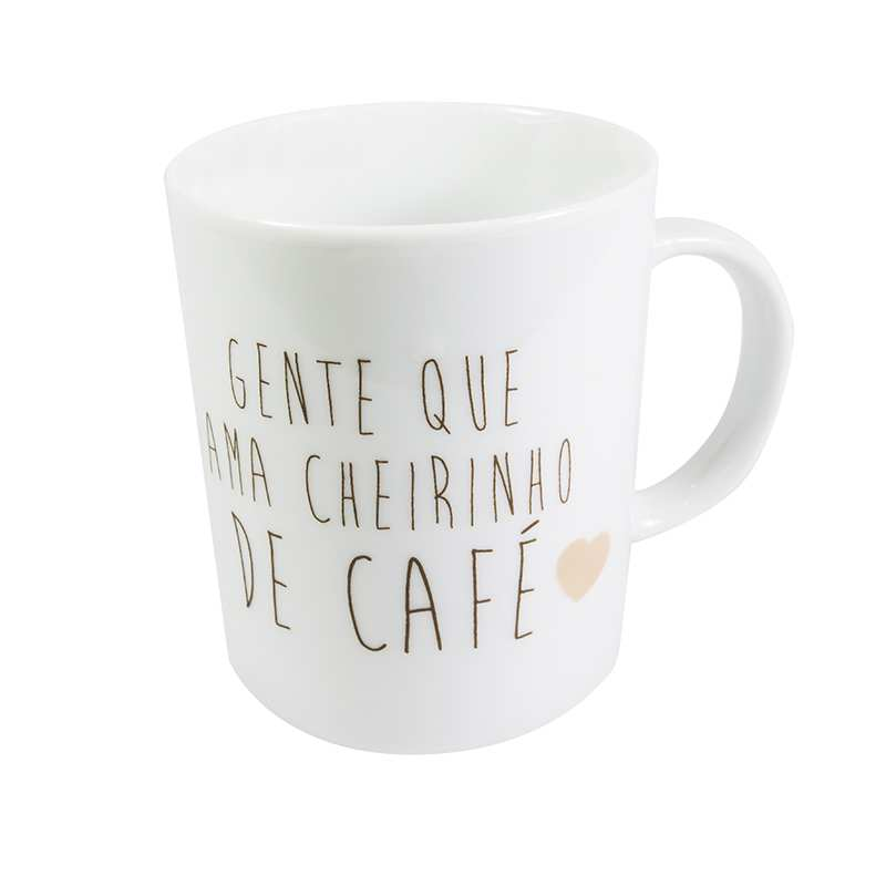 """Caneca """"Gente que ama cheirinho de café"""" 330ml"""