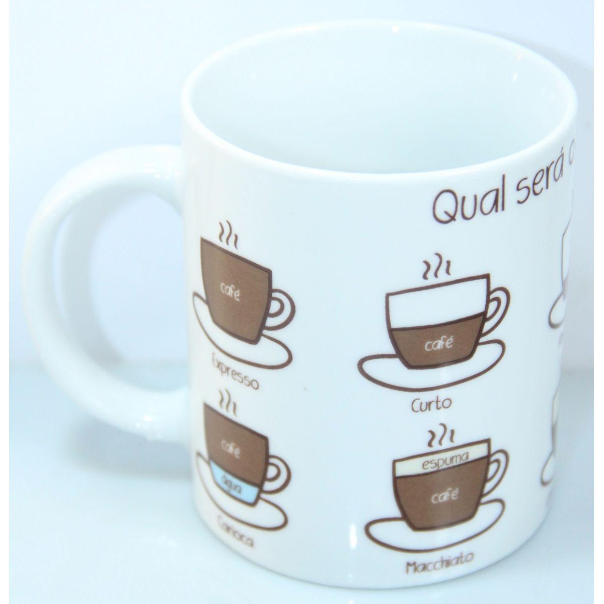 """Caneca """"Qual será o café de hoje?"""