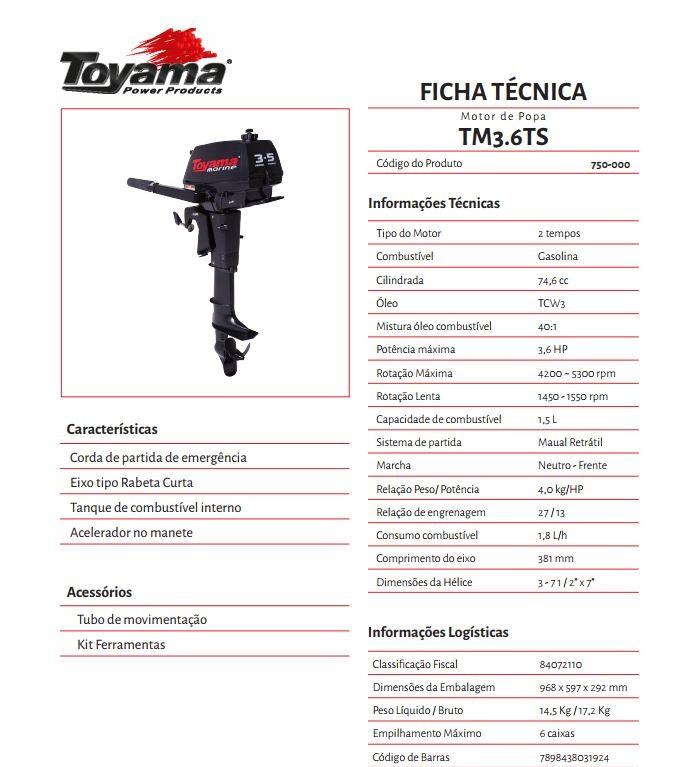 MOTOR DE POPA TOYAMA 3.6 HP 2T