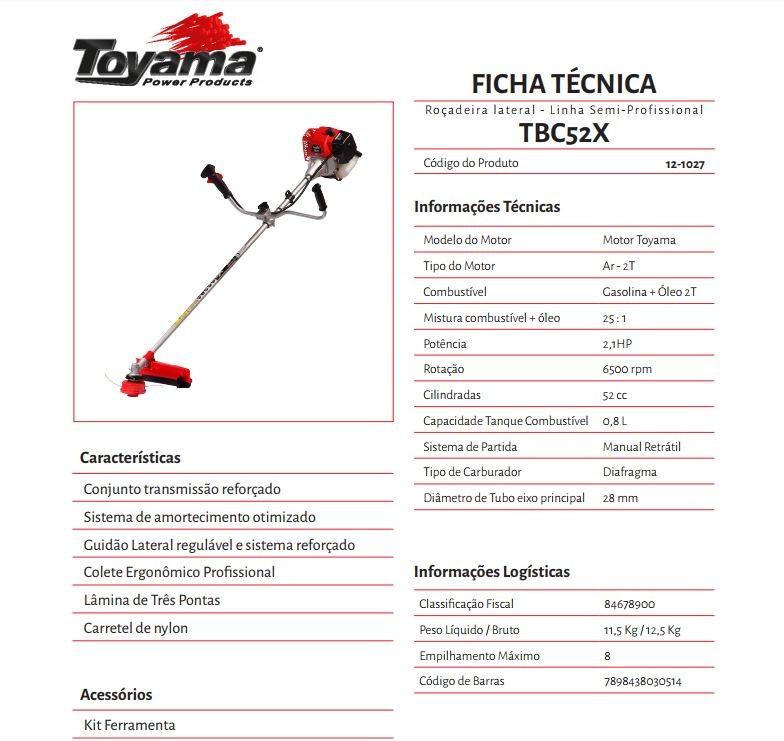 ROCADEIRA TOYAMA TBC52X 51,6CC, 2T , GASOLINA