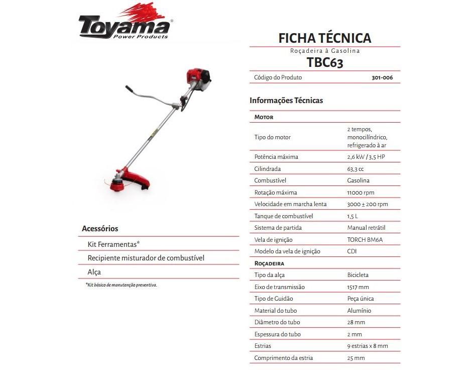 ROCADEIRA TOYAMA TBC63 GAS 2T 63.3CC 3.5HP MAX