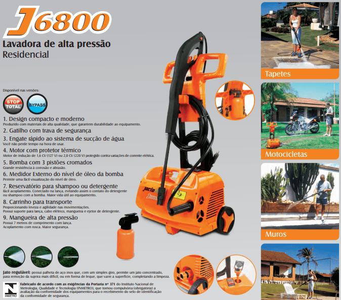 LAVADORA DE ALTA PRESSAO J6800STOP 220V