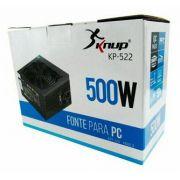 FONTE DE ALIMENTACAO ATX 500W REAL 2 SATA KP-522 24P KNUP