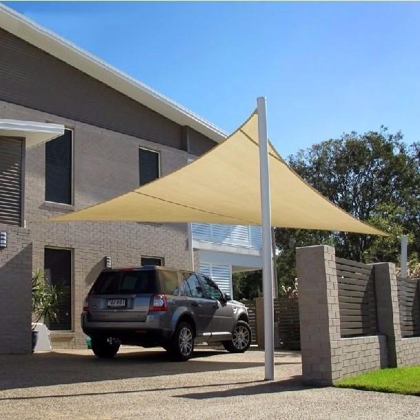 Toldo Tela de Sombreamento 4x4x5,6 m Triangular Residencial / Comercial Bege Sombralux