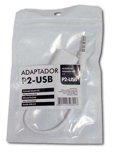 ADAPTADOR P2 MACHO P/ USB FEMEA