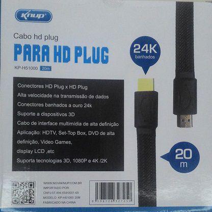CABO HDMI x HDMI 20 M COM MALHA KP-51000 20M