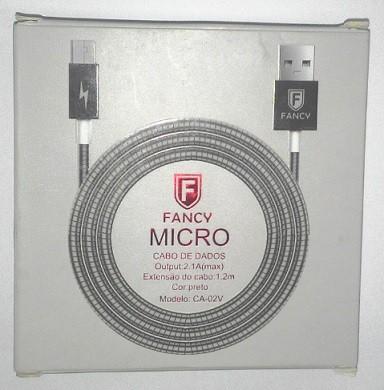 CABO USB METALICO 2.1A MICRO USB (V8) MOD CA-02V 1,2M FANCY
