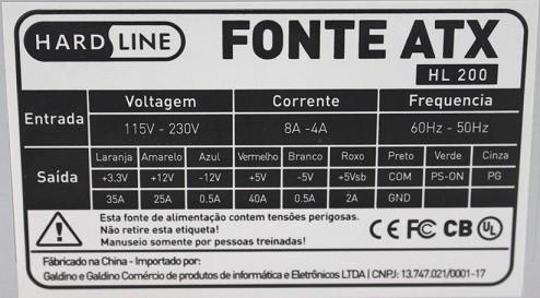 FONTE DE ALIMENTACAO ATX 200 REAL HL-200 S/CABO HARDLINE