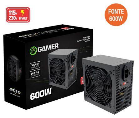 FONTE DE ALIMENTACAO ATX 600W REAL GAMER BRAZIL PC