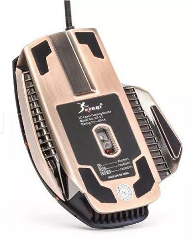 MOUSE GAMER USB 1600 DPI - KP-V7 - BASE METALICA - KNUP