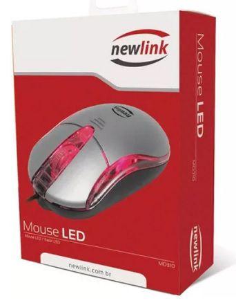 MOUSE LED MO310 PRATA NEWLINK