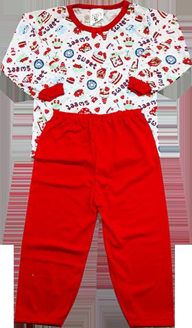 Pijama Malha PV Estampado Manga Longa