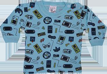 Camiseta Manga Longa Estampada Com Botao