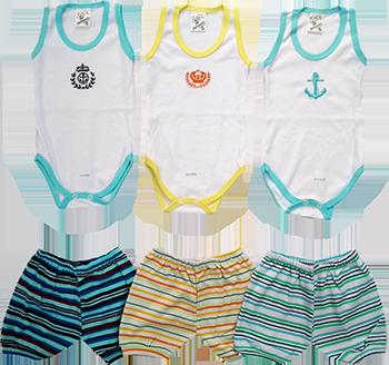 Conjunto Body Regata Masculina E Shorts Listrado (Unidade)