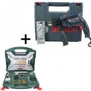 Kit Furadeira Bosch Gsb 13re + Jogo 103 Pcs Xline Titanium
