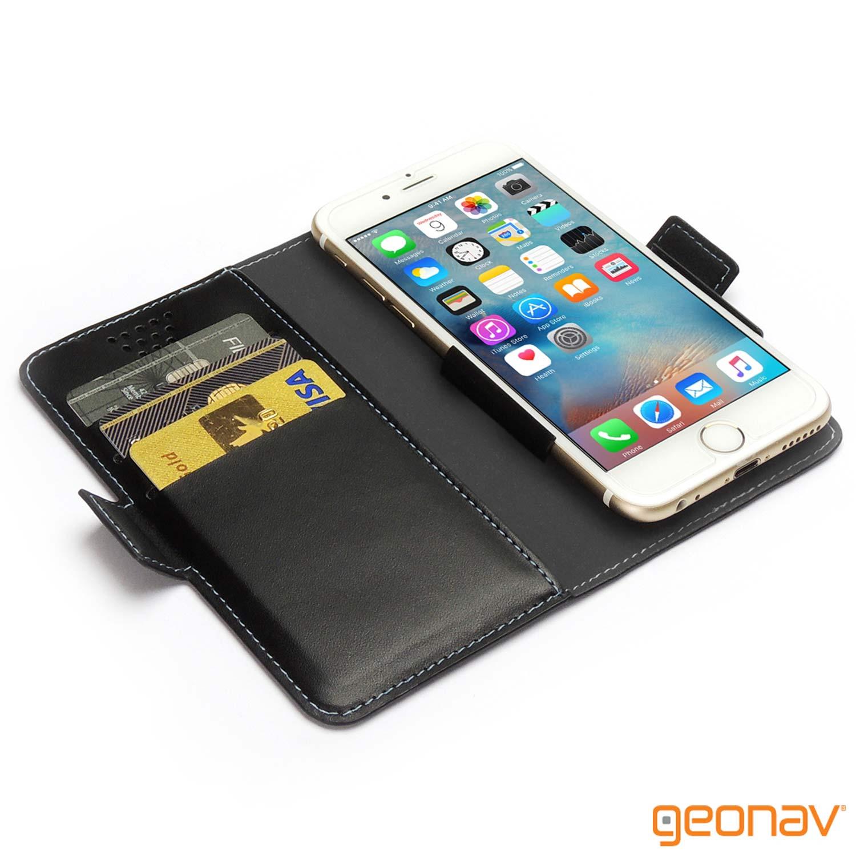 "Capa-Carteira Universal Smartphones 5"" a 5,5"" Preta - Geonav"