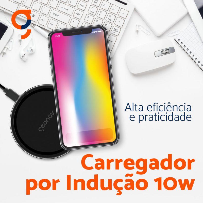 CARREGADOR POR INDUÇÃO 10W COMPATIVÉL COM PADRÃO QI - QI10WG - GEONAV