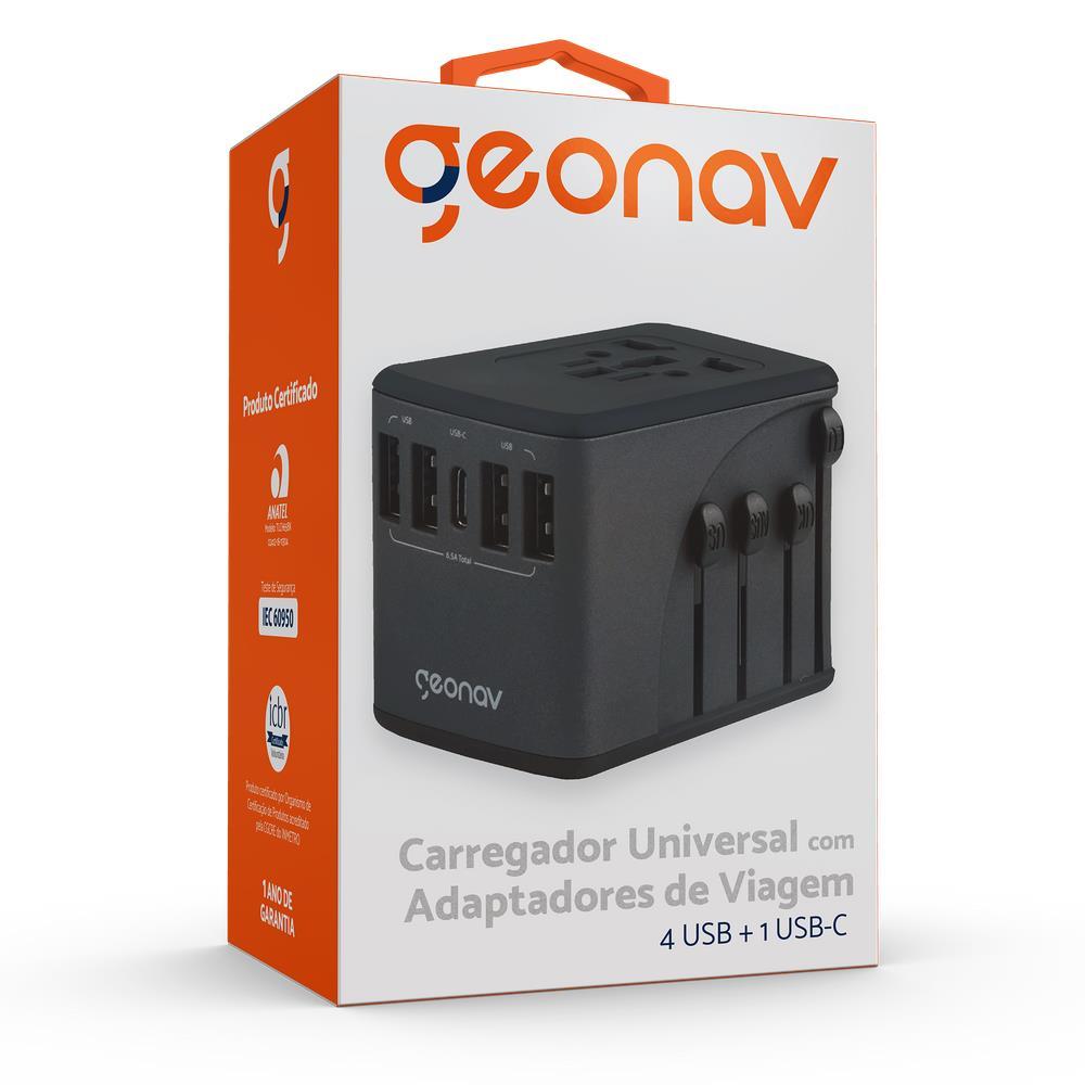 CARREGADOR UNIVERSAL COM ADAPTADORES DE VIAGEM 4 USB + 1 USB-C - TLCH65BK - GEONAV