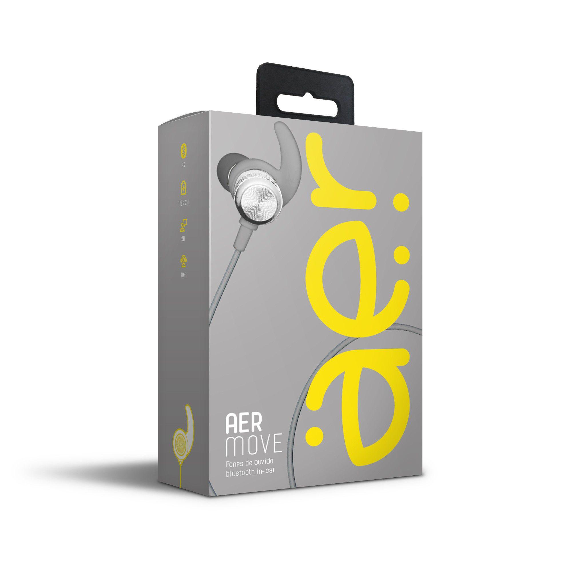 Fones de Ouvido Bluetooth Intra-Auricular Aermove Prata - Aer