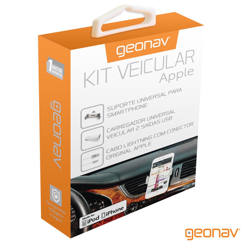 Kit Veicular: Suporte veicular + Carregador Veicular 2 USB + Cabo Lightning - Geonav