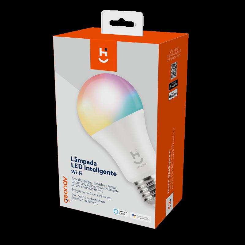 LÂMPADA INTELIGENTE RGB+W COM SOQUETE E27 BIVOLT - HI GEONAV