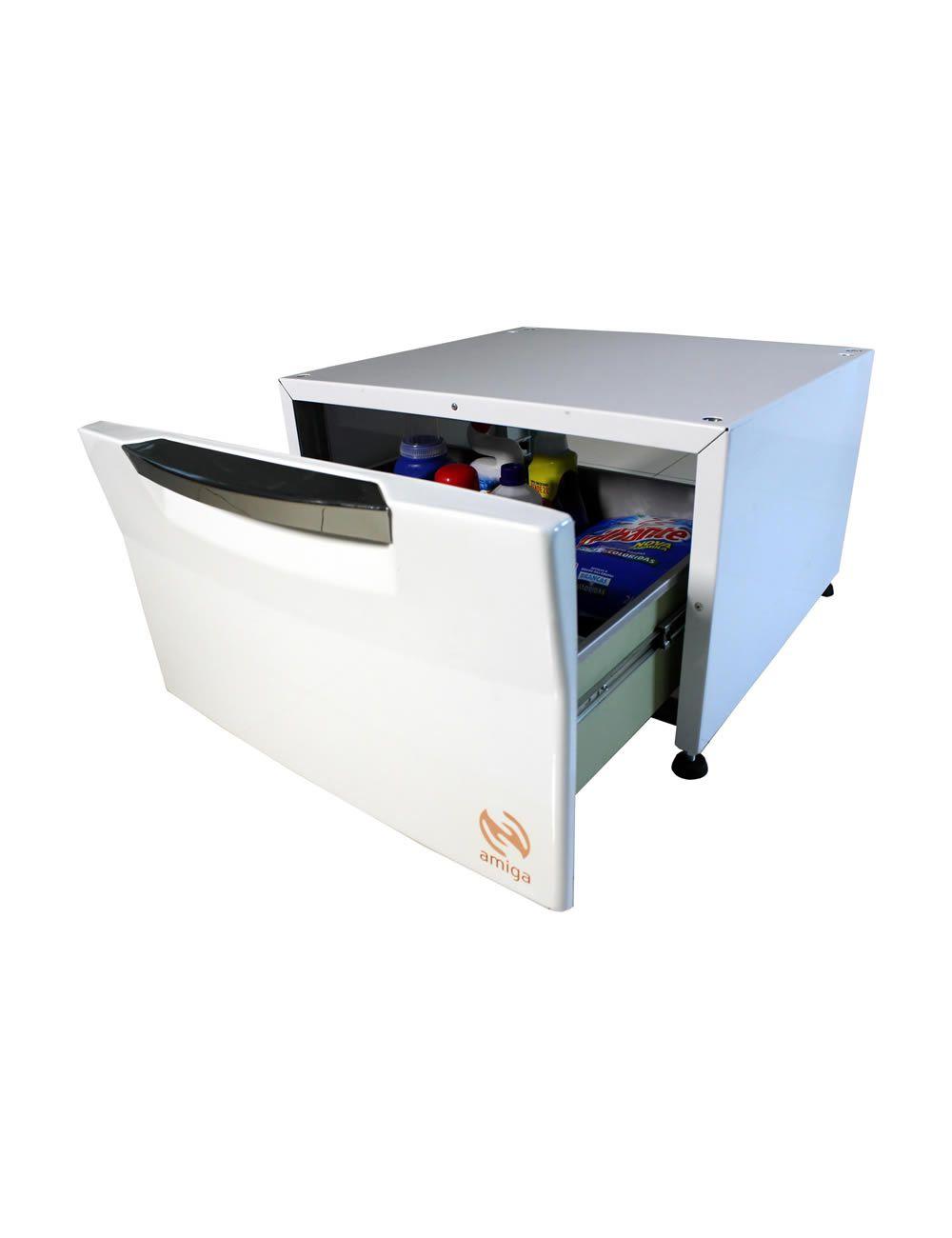 Pedestal Organizador Sempre Amiga Cor Branca P/Lava e Seca LG de 8,5Kg - Amiga