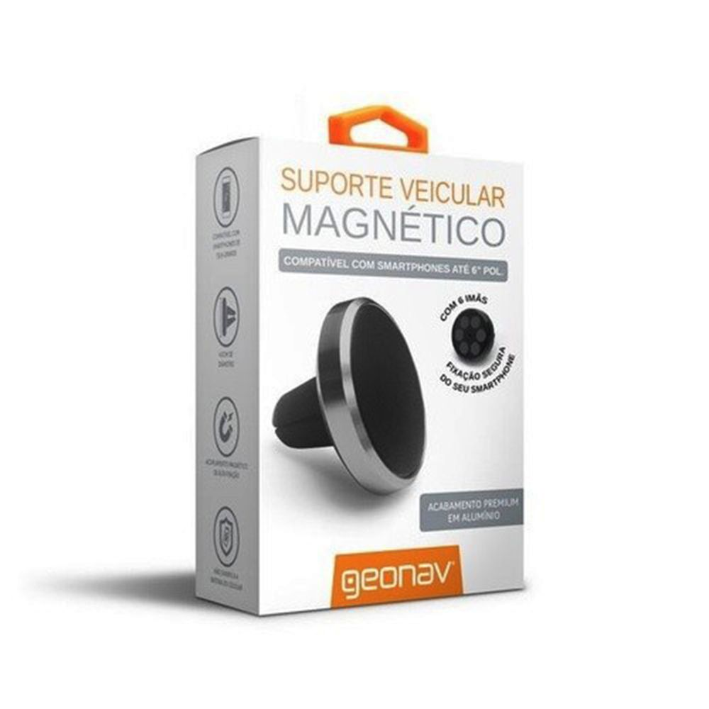 Suporte Veicular Magnético Premium (6 imãs) Compatível Com Todos Smartphones - Geonav