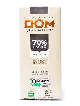 Chocolate sem Adição de Açúcares 70% Orgânico 40g DOM