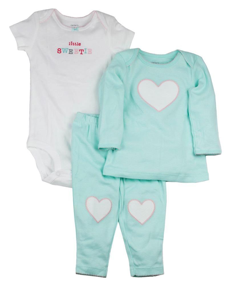 Conjunto 3 Peças Carter s Corações (1 body mc 1 camiseta ml 1 calça ... 56e4b0d75a5