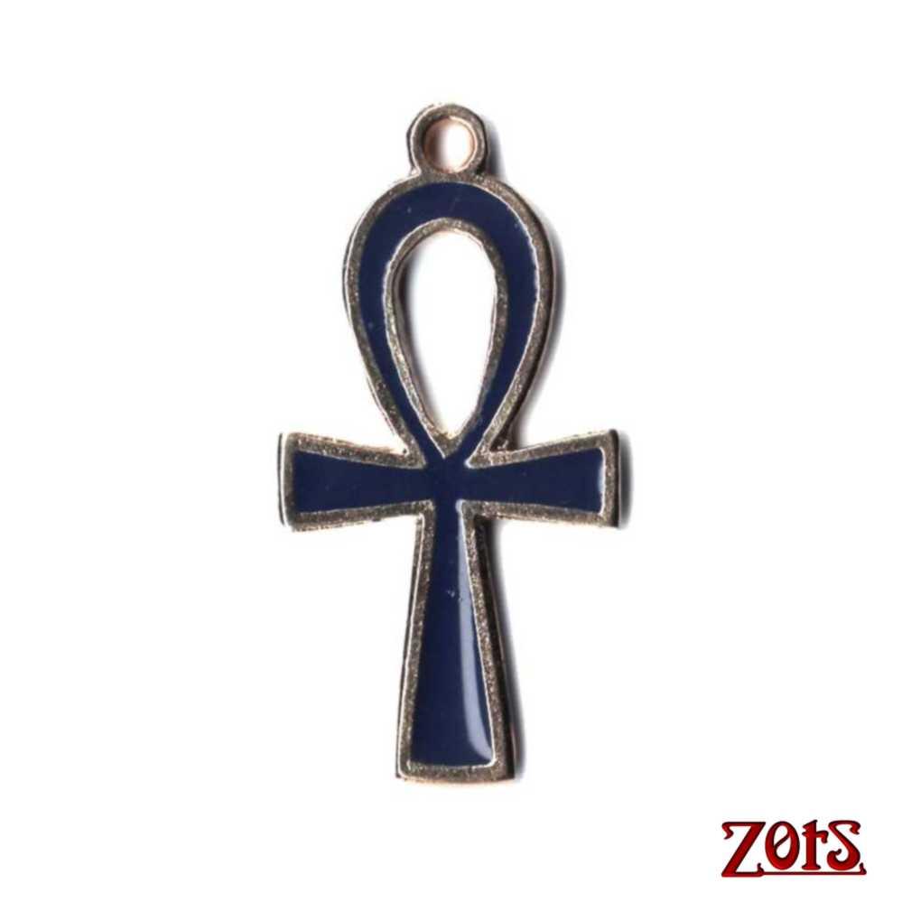 Cruz Ansata Pingente M Azul  - Zots