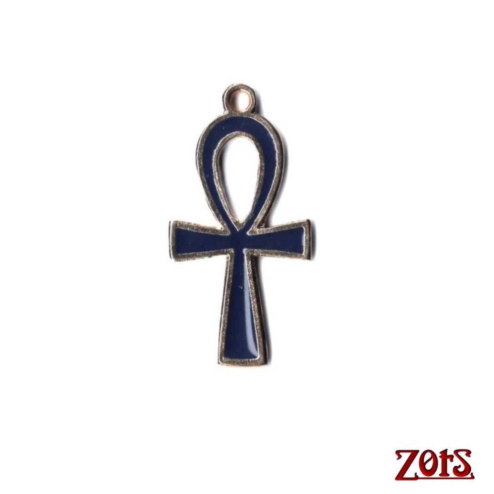 Cruz Ansata Pingente P Azul  -  Zots