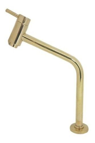 Torneira De Bancada Dourada Slim + Válvula Dourada