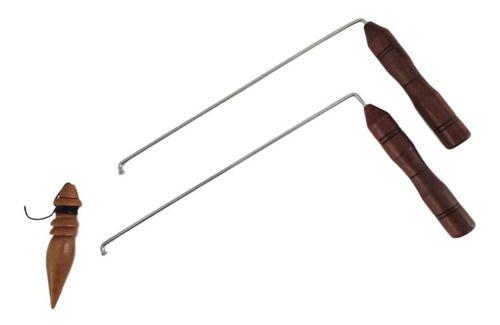 Dual Rod + Pêndulo Modelo P-05 Em Madeira Para Radiestesia